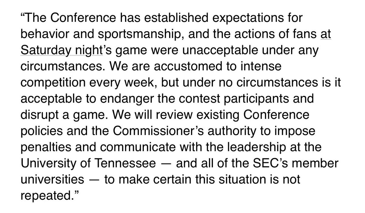 From last night, a statement from SEC commissioner Greg Sankey on the end of the Tennessee-Ole Miss game: