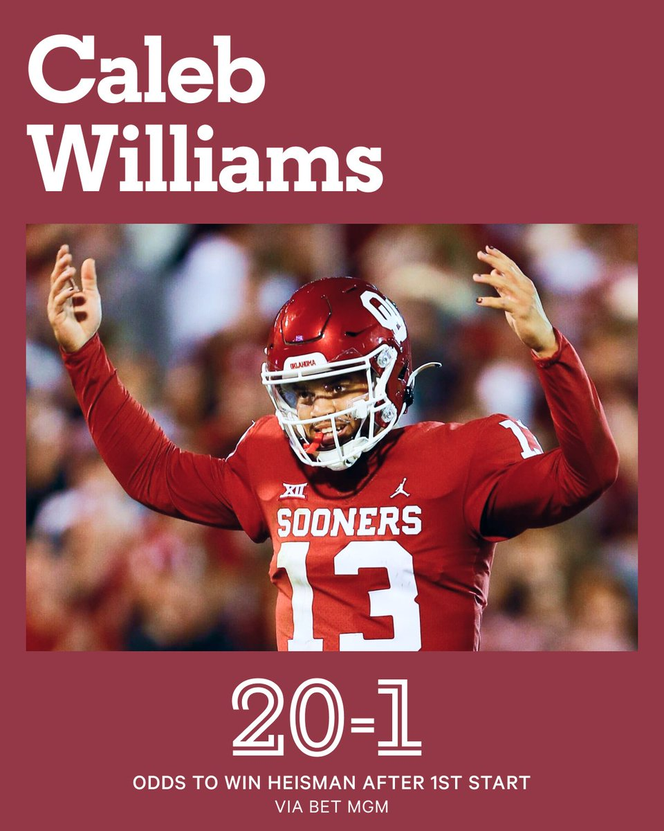 Oklahoma true freshman QB Caleb Williams has entered the Heisman conversation. After one start.