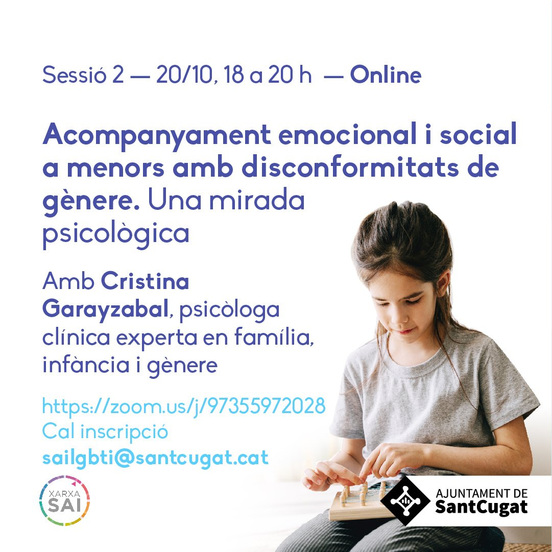 Aquest dimecres parlem de 'Acompanyament emocional i social a menors amb disconformitats de gènere' amb Cristina Garayzabal #octubretrans #SantCugat  📲Inscriu-te a 👉sailgbti@santcugat.cat  @Nudenu @TransfamiliaOrg @SaiLgbtiStCugat @lgtbisantcugat