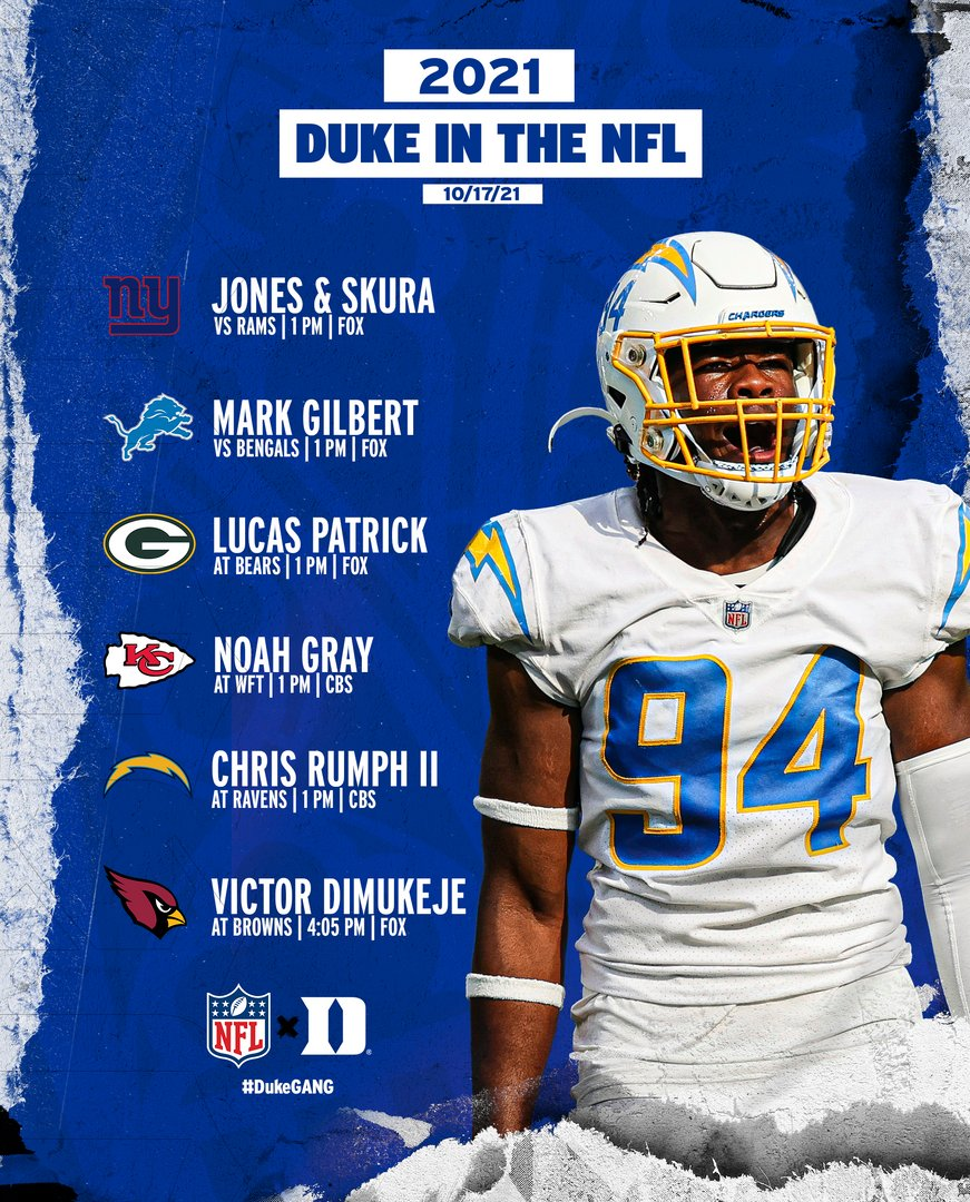 RT @DukeFOOTBALL: It's week six for our pro 🔵😈!  #DukeGang x #DukeInTheNFL https://t.co/RKqNcqDrxv