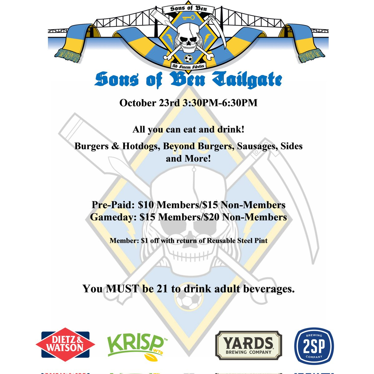 Join us this Saturday before the @PhilaUnion take on Nashville! You do not need to be an SoB to purchase tailgate tickets! sonsofben.ticketleap.com/nsh21/dates/Oc…