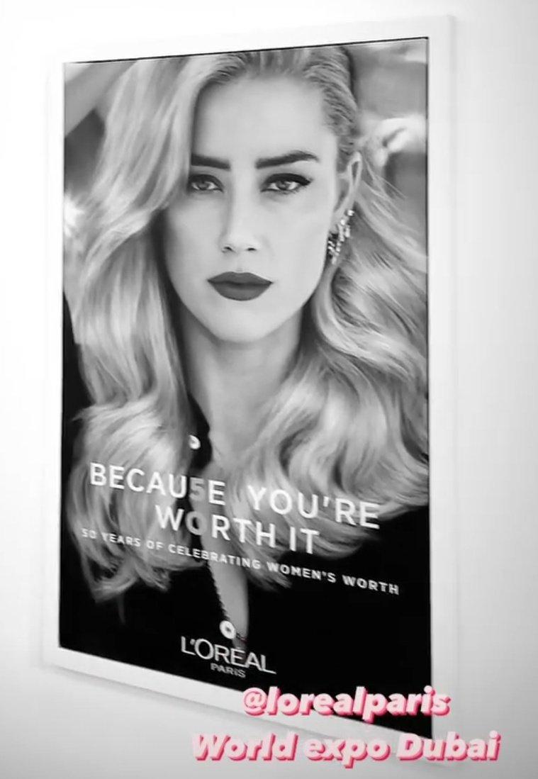#AmberHeard poster at the Dubai Expo ❤️ #LOrealParis #worthit #empoweringwomen #DubaiExpo2021 #DubaiExpo