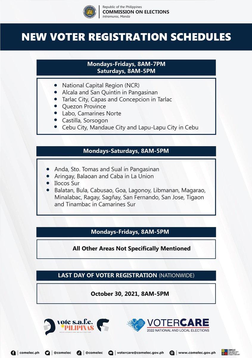 ICYMI: New voter registration schedules  #MagpaRehistroKa