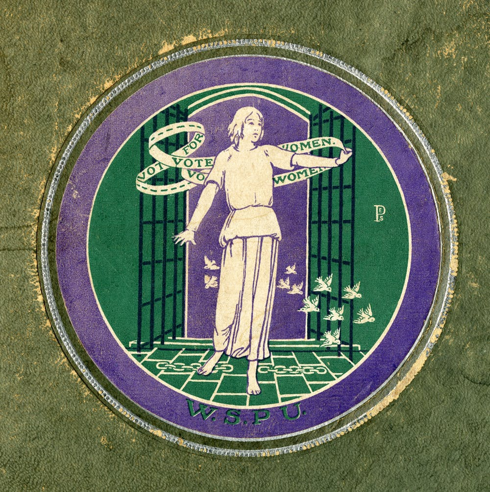 Button designed by Sylvia Pankhurst for the UK suffragette campaign c. 1911 #WomensArt