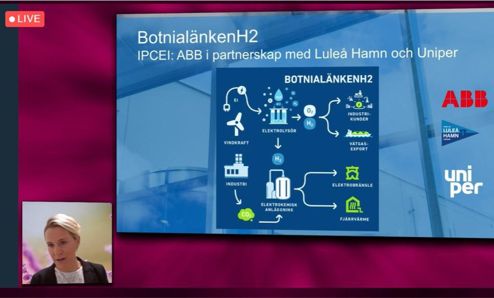 Ett spännande #vätgas-projekt är #BottnialänkenH2 ett samarbete mellan @ABBSverige, Luleå Hamn och @UniperSweden. Vår planerade vätgashubb kommer att få stor betydelse för lokalsamhället och vi har fått mycket positiv respons, berättar Vibeke Gyllenram från ABB. #ArenaEnergi https://t.co/14OfPJd3wm