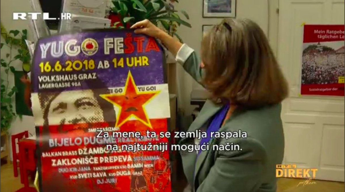 test Twitter Media - Elle Kahr of the KPÖ (Communist Party of Austria), now the largest party in the city of Graz, with a Yugofest poster https://t.co/3bSq0R2SSD
