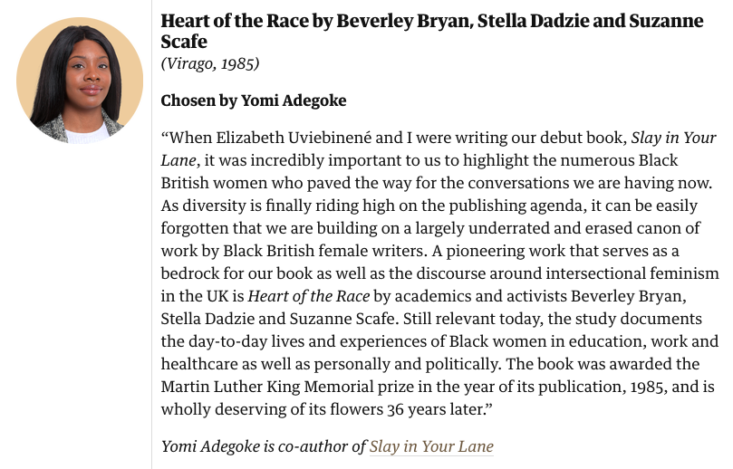 Was 1 of the 20 writers asked to contribute to this wonderful @guardian piece picking 20 books by writers of colour (can't believe there are still bylines of me with hair floating about!) I chose Heart of the Race + there are loads of great picks in there theguardian.com/books/2021/oct…