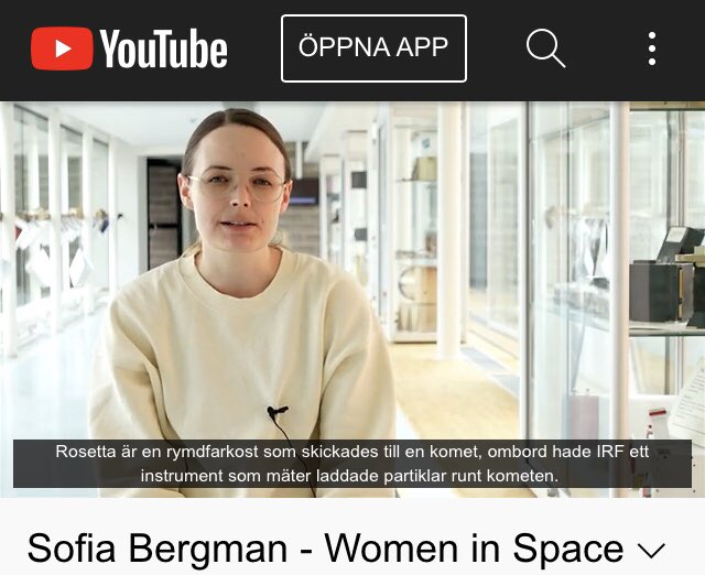 Listen to Sofia Bergman, currently a doctoral student at IRF. She has a master's degree in space technology from Luleå University of Technology (LTU).  The interview is part of the #WomenInSpace activities and UNIVERSEH of which LTU is a part.  https://t.co/Vol7oI494d https://t.co/mRYs2L6u07