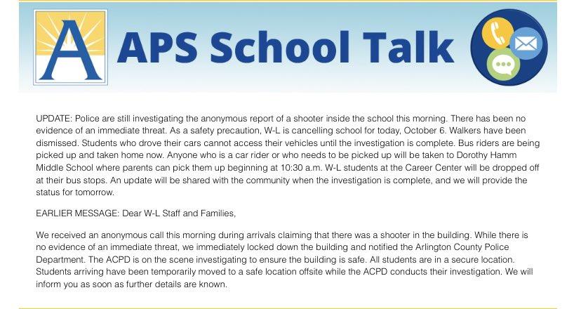 RTAPSバージニア '> @APSバージニア州:WLでの事件に関する最新情報。 その日、学生は解雇されます。 https://t.co/CM8UU1m8aa