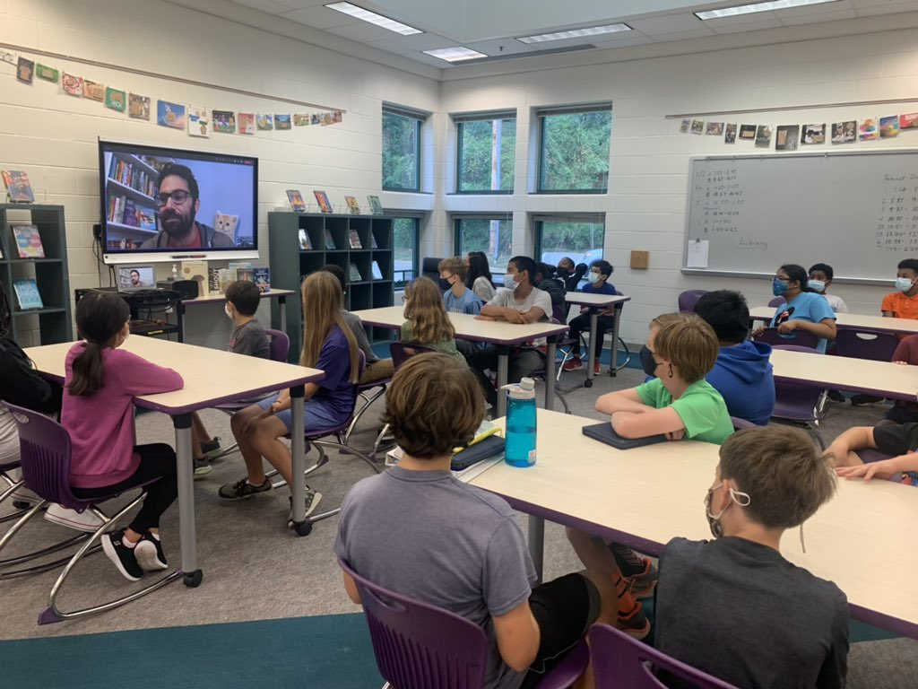 Thank you <a target='_blank' href='http://twitter.com/jarodrosello'>@jarodrosello</a> for visiting with some of our 6th grade reading students today! They had a blast hearing you talk about being a writer, graphic novels, comics, cartoons and video games! <a target='_blank' href='http://twitter.com/Bauer_GMS'>@Bauer_GMS</a> <a target='_blank' href='http://twitter.com/APSLibrarians'>@APSLibrarians</a> <a target='_blank' href='http://twitter.com/APSGunston'>@APSGunston</a> <a target='_blank' href='http://twitter.com/khethiwe_hudson'>@khethiwe_hudson</a> <a target='_blank' href='https://t.co/q1sanoLAWg'>https://t.co/q1sanoLAWg</a>