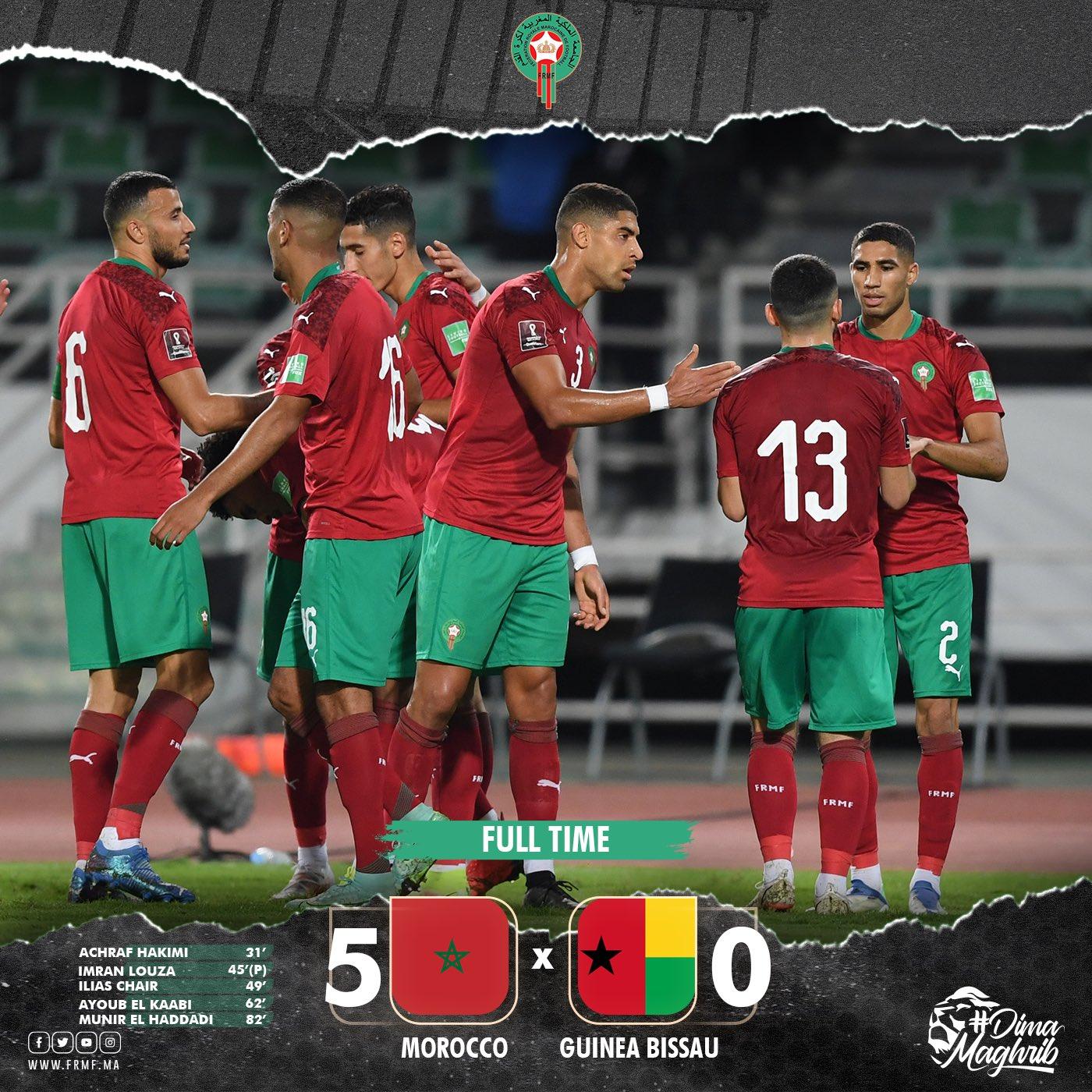 مباراة المغرب اليوم , المغرب غينيا بيساو , مباراة المغرب وغينيا بيساو 5 - 0 , maroc vs guinée 5 - 0 maroc vs guinée 2021
