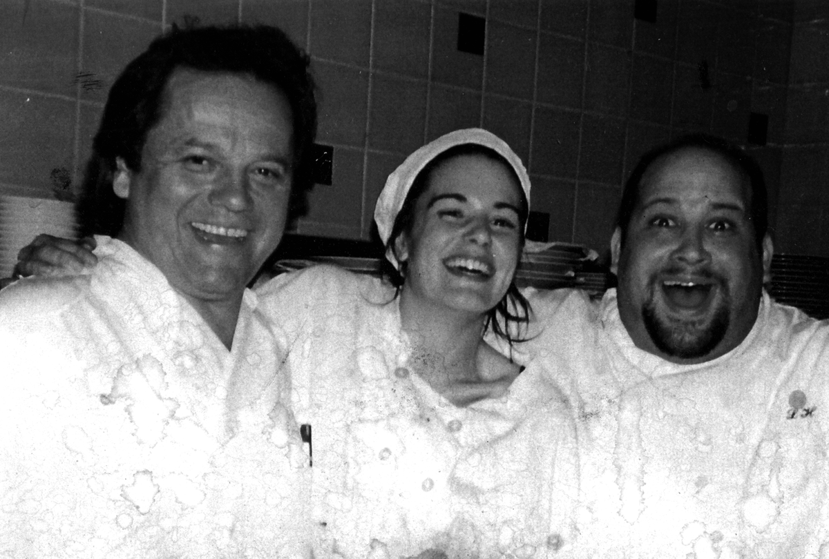My sister used to be a chef for Wolfgang Puck.  I keep this photo next to the stove so I can look over and see them mocking me.