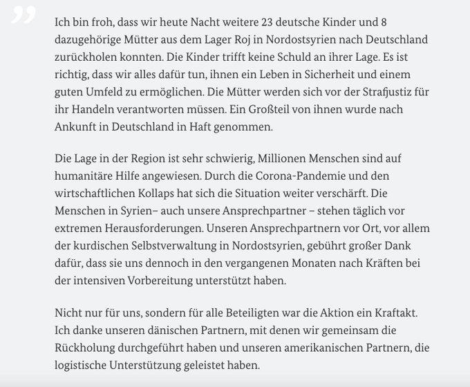 Zitat von Außenminister Maas zur Rückholaktion aus Nordsyrien vom 7. Oktober 2021.