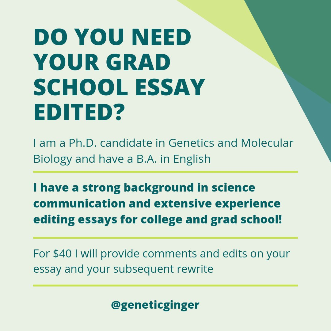 Do you know anyone applying to grad school who would like another pair of eyes on their essay 👀? I offer a editing package which includes two rounds of comments and edits on your essay! My passion is editing and my background in English and science 📙 🔬 Please RT! #phdchat
