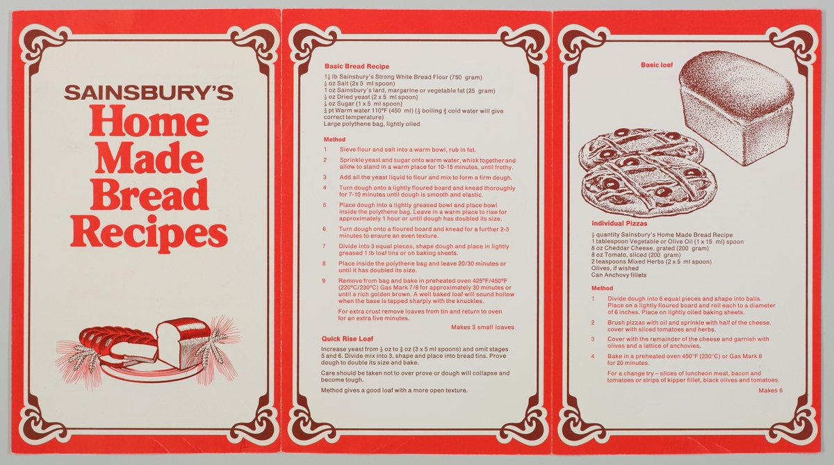 Been inspired to make bread this week? 🥖 Here's a throwback to our homemade bread recipe from c.1979. @sainsburyarch For more explore here: spr.ly/6019JHEJZ Images © The Sainsbury Archive, Museum of London Docklands #ThrowbackThursday