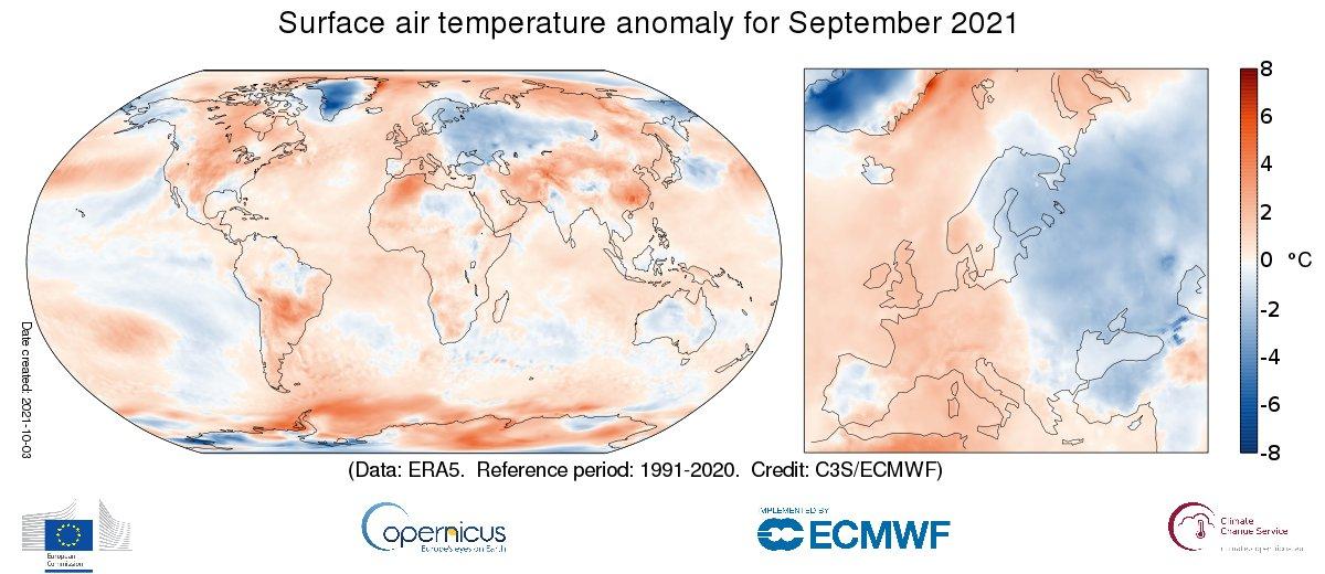 Septembre 2021 contrasté entre ouest (plus chaud) et est (plus frais) de l'Europe.  A l'échelle globale, il est dans le top 4 des mois de septembre les plus chauds.