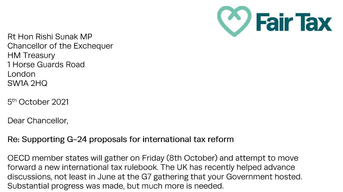 Ten UK civil society groups are calling on the UK to support the G-24 emerging economies in their request that the OECD's forthcoming global tax deal will be improved, to the benefit of both developed and developing world countries. See open letter at fairtaxmark.net/call-for-uk-to…