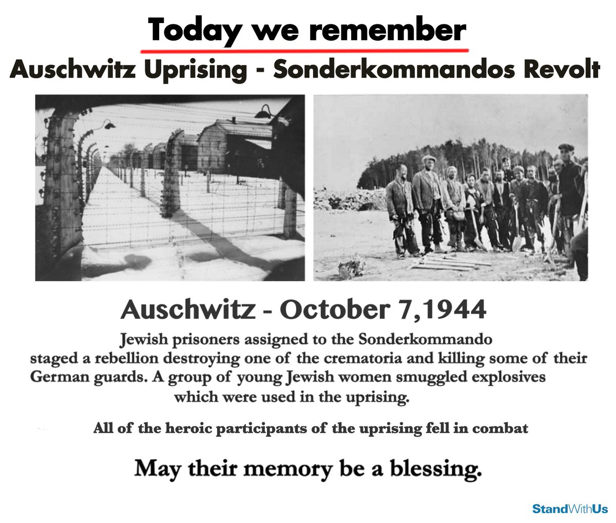 77 years ago today, the brave Sonderkommandos of Auschwitz, who were usually Jewish prisoners at the death camp, staged a revolt & destroyed one of the crematoria. Their brave actions slowed down the Nazi massacre of the Jews, saving thousands of lives. We salute their bravery!