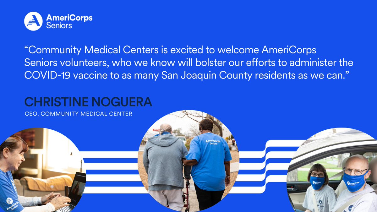 We're thrilled to partner with @RSF_Stockton, HealthForce Partners  & @CMCinc78 to mobilize more @AmeriCorpsSr volunteers who'll help protect vulnerable populations from #COVID19 in #CA.   Check out our full press release to learn more⤵️ https://t.co/SR7mEKcNQ9