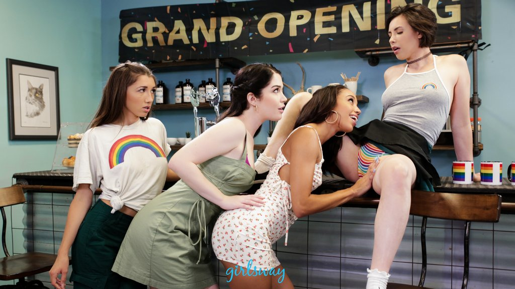 . @caseycalvertxxx is a new cafe owner. Since business is a bit slow, she puts something special on the menu 😈 'Grand opening,' starring @Alexistaex @LuvEvelynClaire @MayaWoulfe and @caseycalvertxxx , comes out October 24th! adultti.me/atgirlsway