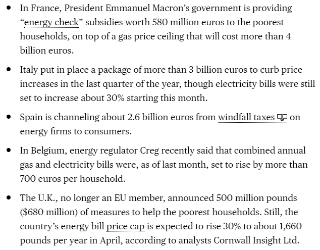 Handy snapshot of how other European governments are dealing with the #energycrisis (same problems and much the same responses as in the UK)... (h/t Bloomberg)