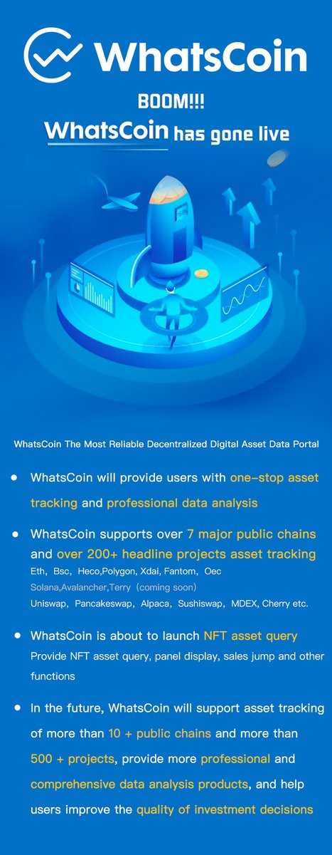 BOOM!!! WhatsCoin has gone live!!! WhatsCoin will provide users with one-stop asset tracking and professional data analysis.