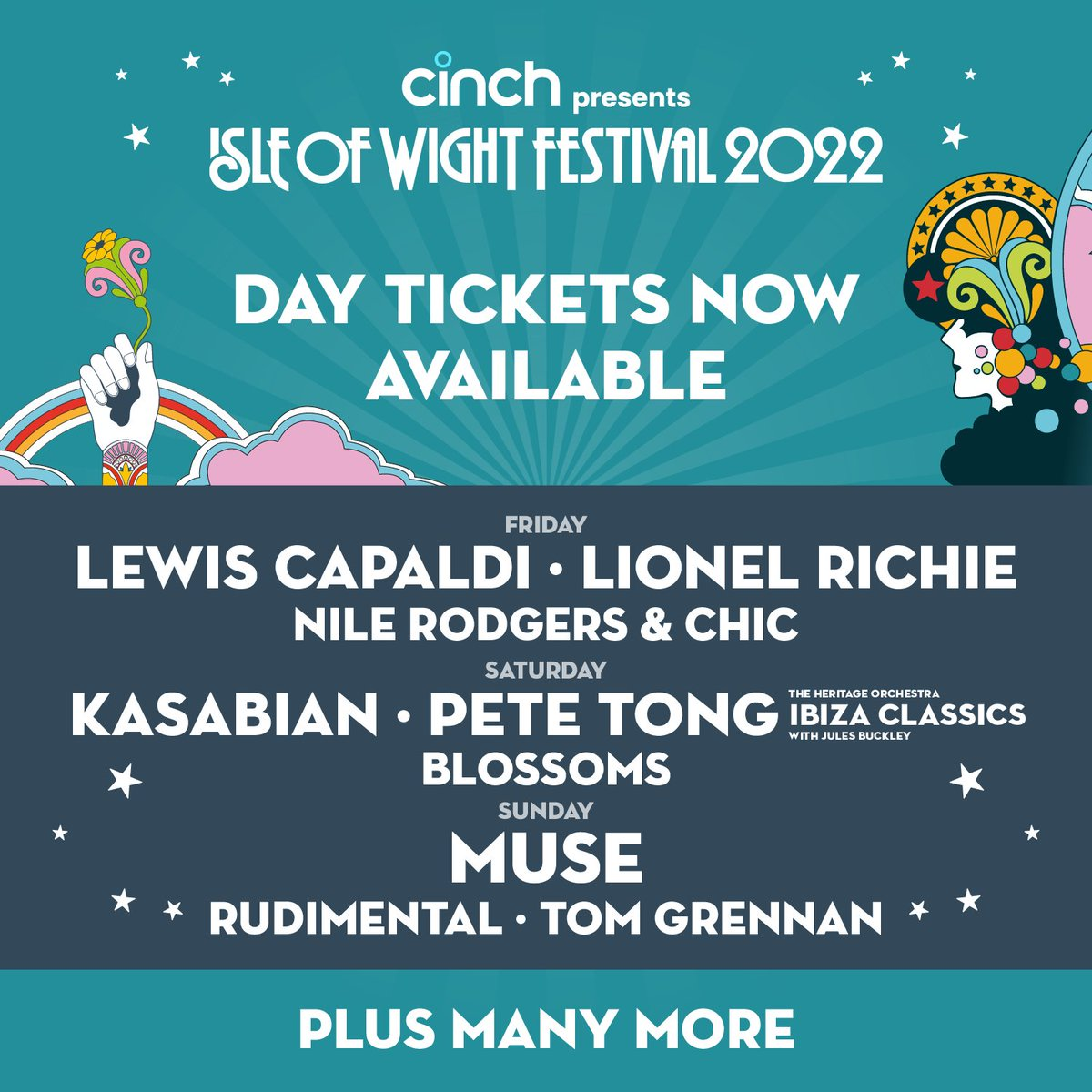 Day tickets for @cinchuk presents the Isle of Wight Festival 2022 are on sale now 🎟️ See main stage headliners @LewisCapaldi, @LionelRichie, @KasabianHQ, @petetong, @muse and more! We cannot wait! Grab your day tickets here: bit.ly/3lkr8e5 #cinchxIOW #IOW2022