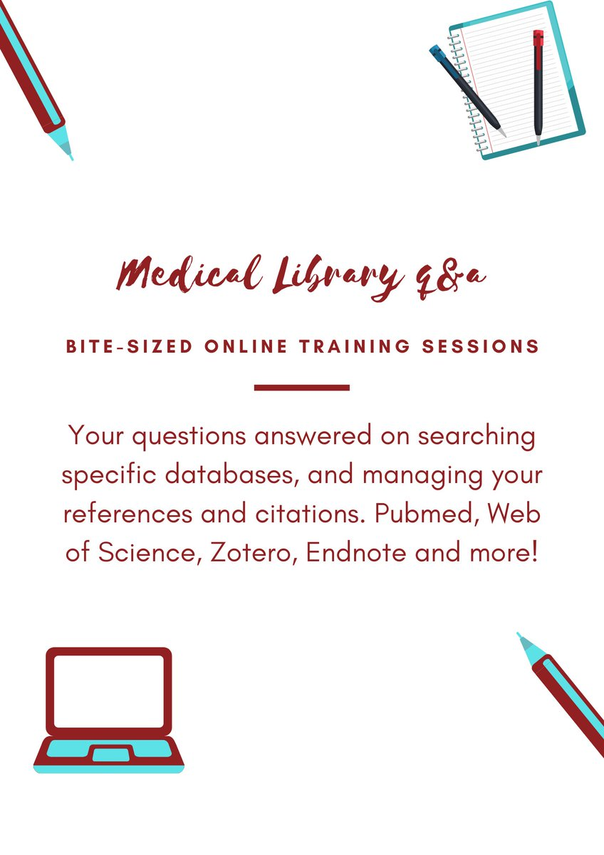 A reminder that the Medical Library's bite-sized Q&A sessions continue next week. These classes enable you to get hands-on practice and demonstrations using specific software to organise the papers you find, and generate citations and reference lists when writing up.