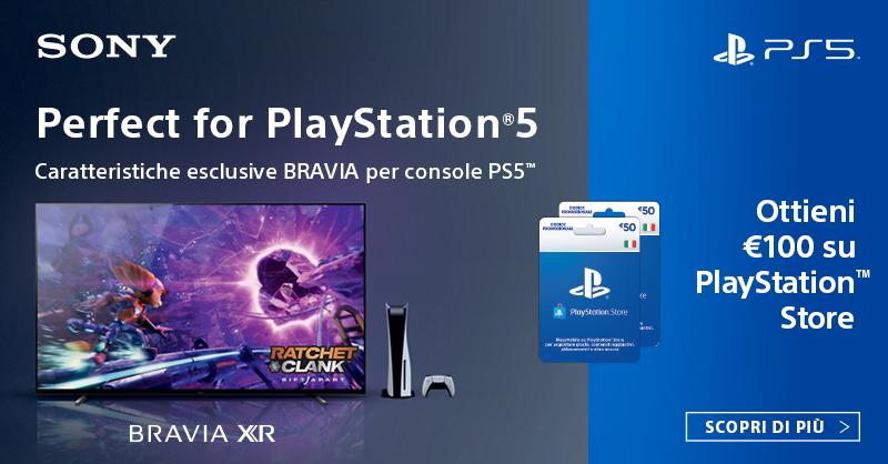 Scopri come ottenere 100€ in codici promozionali da spendere su PlayStation™Store acquistando una selezione di TV BRAVIA XR. Per maggiori informazioni, visita https://t.co/EtKb6bJFXm https://t.co/dzlQ59gtm2