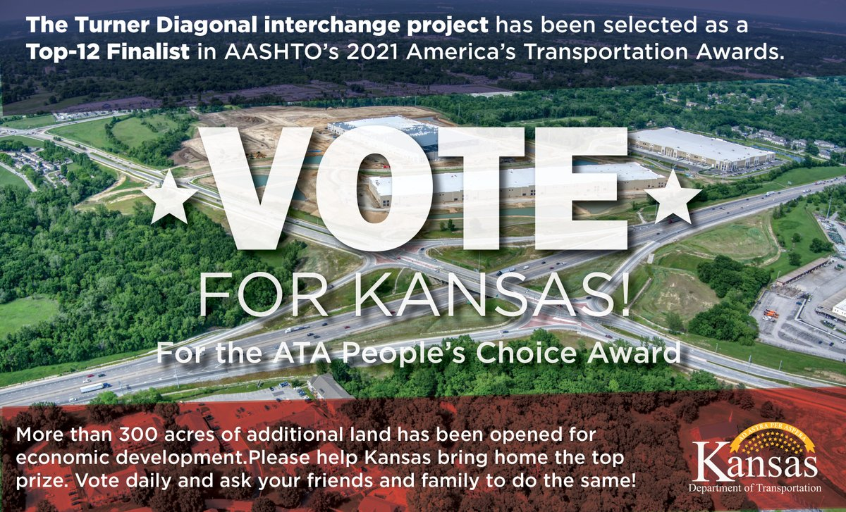 Vote for Kansas to win! The Turner Diagonal project is in the finals, and the prize money would support scholarships for Kansas students. Vote using the link below:
