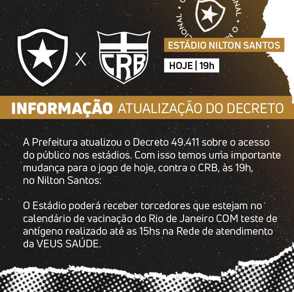 Botafogo conseguiu mudar a tempo o protocolo do jogo de hoje á noite de acordo com o novo decreto da Prefeitura do Rio de Janeiro . Agora torcedores com ciclo de vacina completo não precisarão de teste negativo para entrar no estádio. #BotaENM