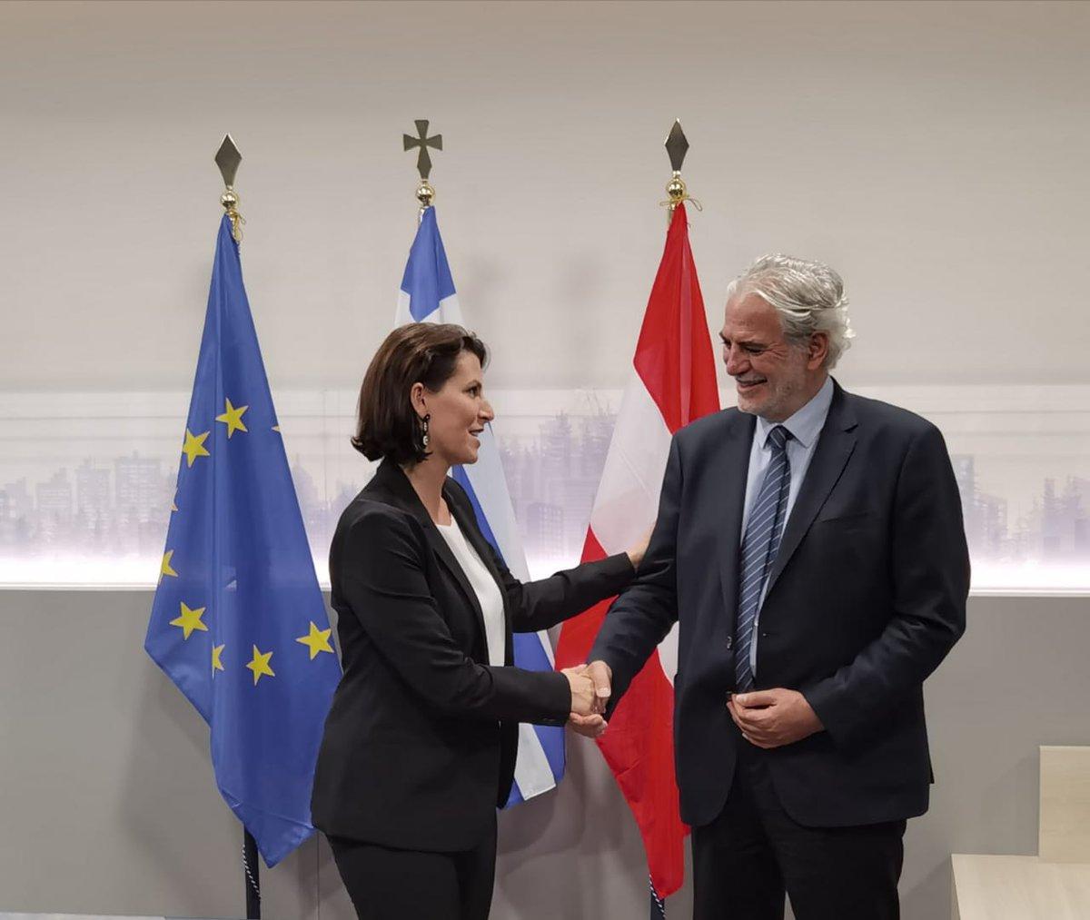 🇬🇷🤝🇦🇹 Συνάντηση Υπ. Κλιματικής Κρίσης & Πολιτικής Προστασίας @StylianidesEU & Υφυπ. Ευ. Τουρνά με Υπουργό Ευρωπαϊκών & Συνταγματικών Υποθέσεων Αυστρίας @k_edtstadler Η ενίσχυση της συνεργασίας σε διμερές & 🇪🇺 επίπεδο #rescEU στο επίκεντρο 🔗bit.ly/2ZZao3E