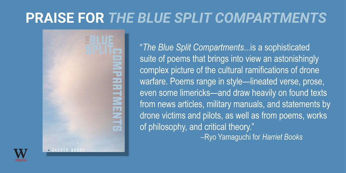 """test Twitter Media - Praise from Harriet Books for Andrea Brady's """"The Split Blue Compartments.""""  Read the full review: https://t.co/we9LTLVWGQ  #DroneWarfare #MilitaryIndustrialComplex #War #Combat #CivilianCasualties #Airforce #Spaceforce #WarPoetry @PoetryFound https://t.co/05pslNSjgP"""