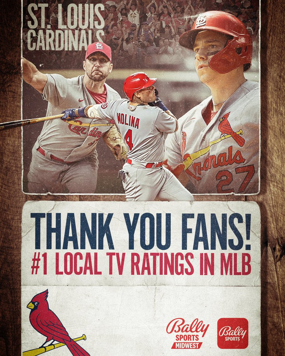 #1 fans in baseball. #1 TV ratings in baseball. Thank you @Cardinals fans. ballysports.com/midwest/news/s… #STLCards