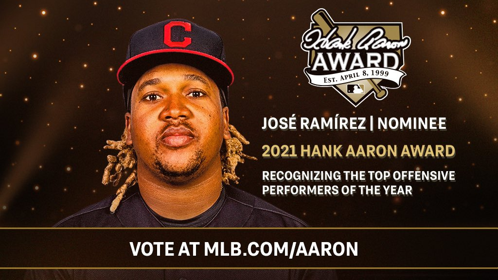 José Ramírez has been named a finalist for the 2021 Hank Aaron Award. This award recognizes the most outstanding regular season offensive performer in each League. Vote for the 🐐 here: atmlb.com/3iLYot4