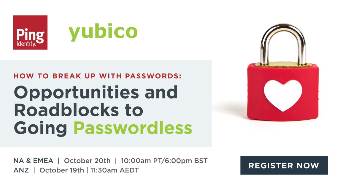 Join us and @pingidentity for a candid discussion (on 10/19 for ANZ and 10/20 for North America and EMEA) about how to break up with passwords 💔 and finally get your #passwordless initiatives off the ground.   RSVP here: https://t.co/64H17bAKnv https://t.co/3MaOhKb9ei