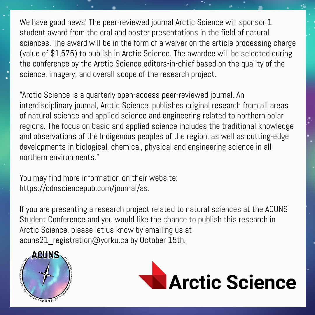 Attending @ACUNS2021AUCEN meeting soon? Here is an opportunity for your paper to win a student award and get it published in @ArcticScienceJ. More info ⬇️ #ECRs #ecrchat #phdlife #arcticscience