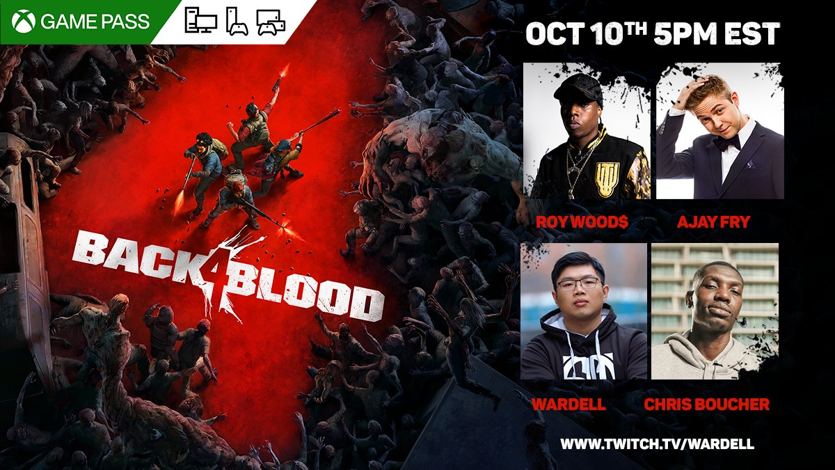 Attention, Cleaners! Join @WARDELL416 on Twitch for a special #Back4Blood LIVESTREAM on October 10th at 5pm EST featuring @ChrisBoucher, @RoyWoods, and @AjayFry!