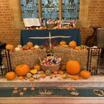St George's Chapel @thenewbeacon beautifully decorated by Mrs F and lit by @Party_Doctors for our lovely #Harvest2021 festivals. Thank you to all who helped make these such memorable occasions and generous donations to @SevenoaksLarder