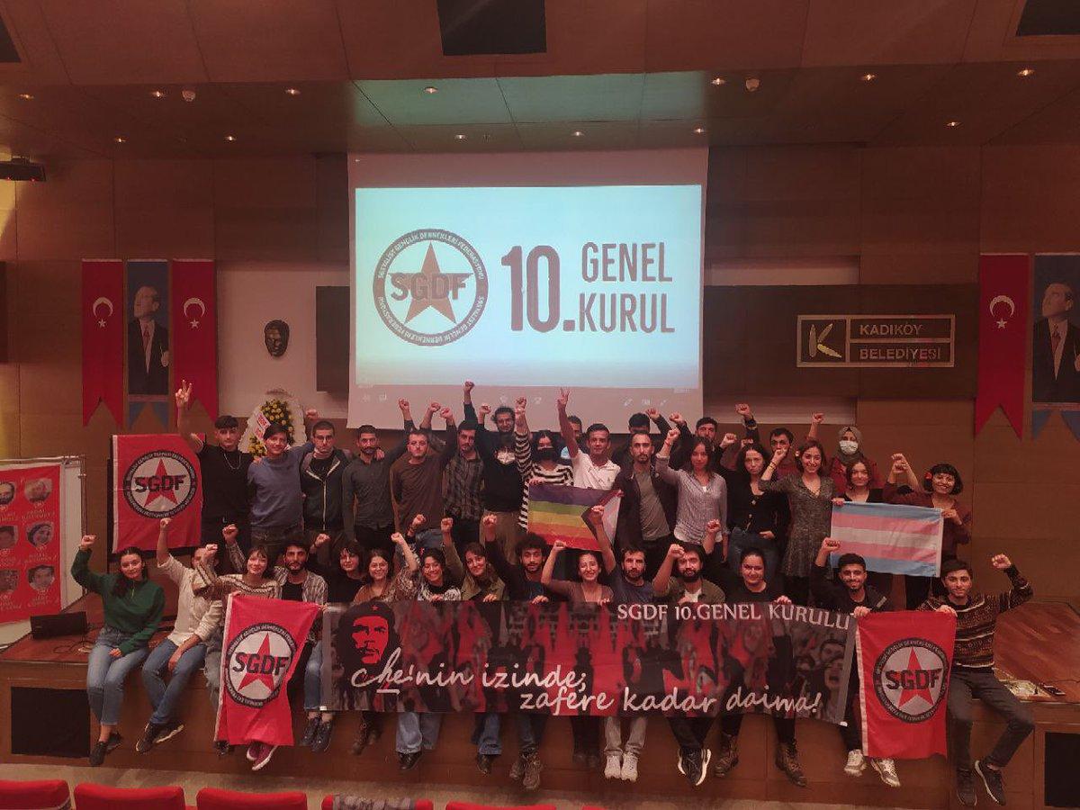 10. Genel Kurulumuzu başarıyla tamamladık.   Suruç şehitlerimiz başta olmak üzere, devrim ve sosyalizm şehitlerimizin izinden yürüyerek gençliği özgürlüğün safında örgütleyecek ve faşizmi yeneceğiz!  Yaşasın özgürlük, yaşasın sosyalizm! #ZafereKadarDaima