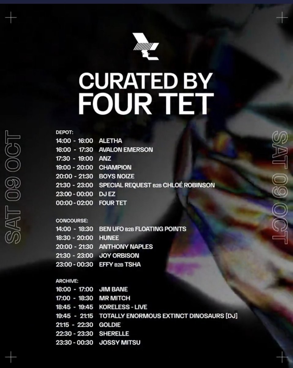 Tonight in Manchester WHP21 /// Curated By Four Tet Set Times Opening with @floatingpoints & @BenUFO at 14:00 in the Concourse. Last entry 18:30 thewarehouseproject.com