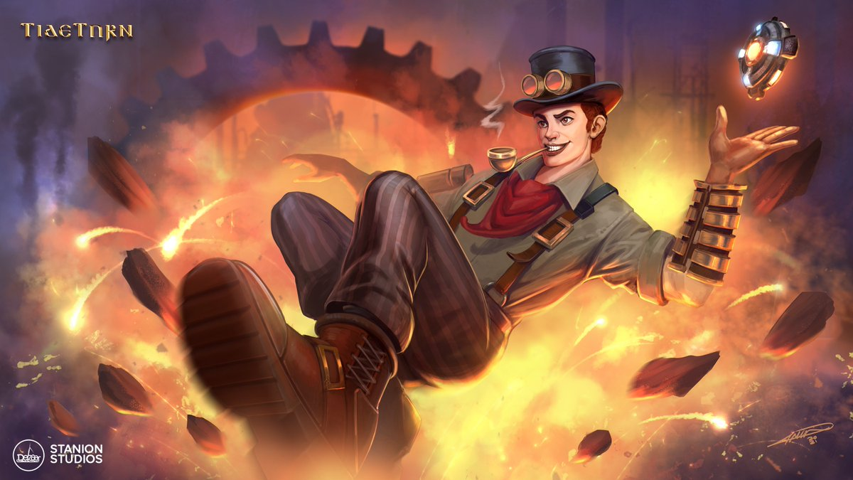 """[Steampunk Henry]  Splash art I did a while ago for """"Tideturn"""" game. In collaboration with Stanion Studios and Delzaar co.  #splashart #art #concept #conceptart #steampunk #digitalart #NFT"""