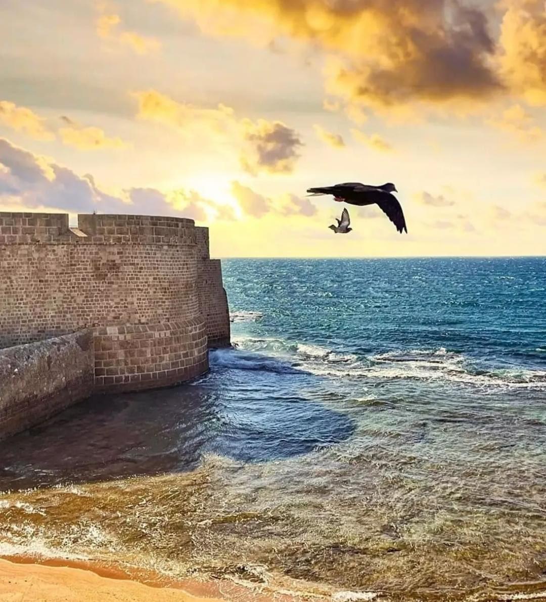 صباح Iلخير والبركة من شاطئ مدينة عكا شمال اسرائيل التي تتميز بتنوعها الثقافي.