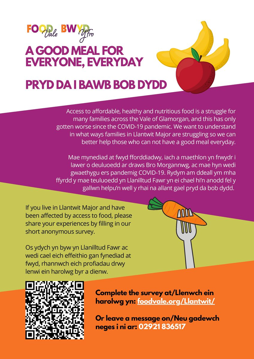 If you live in #LlantwitMajor and have been affected by access to food, please share your experiences by filling in this short, anonymous survey by @thevalefood 🍎🌽  👇👇👇👇 https://t.co/49UoyUxuse