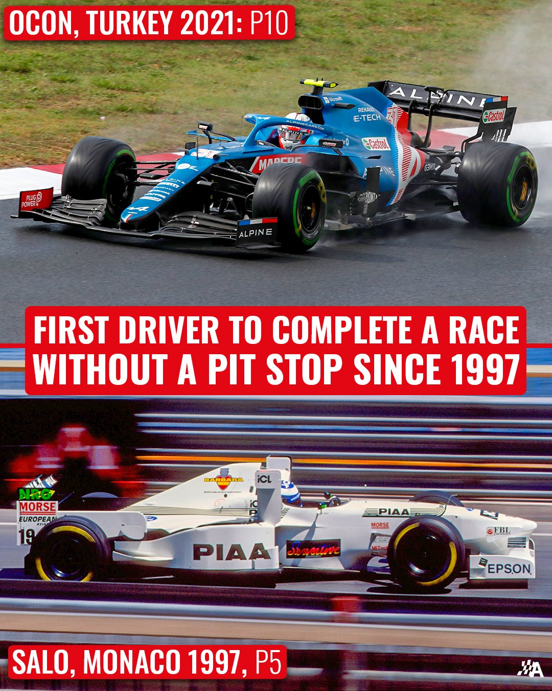 It's been a while since a driver completed a race that wasn't red-flagged without making a single pit stop 🤯  The last time we saw this was Mika Salo scoring Tyrrell's final points in #F1 👏  #Formula1 #TurkishGP #Autosport https://t.co/ByGxJ1SYtf