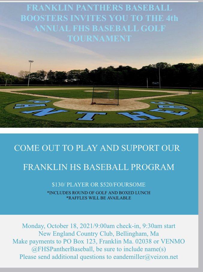 Franklin High School Baseball, MA:  Reminder - Golf Tournament - Oct 18