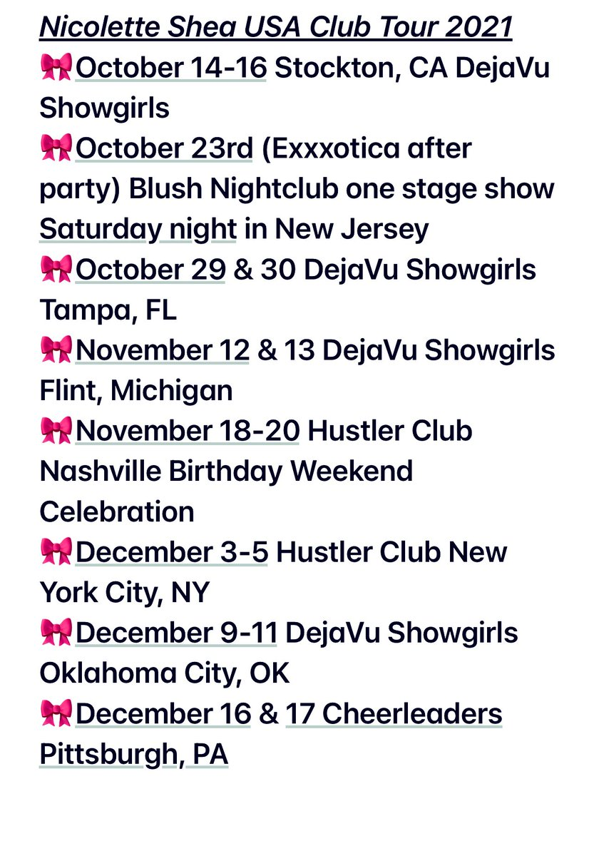 Full #SheaSquad Club Tour list for the remainder of 2021🎀 coming to a city near you! onlyfans.com/nicolettesheas…