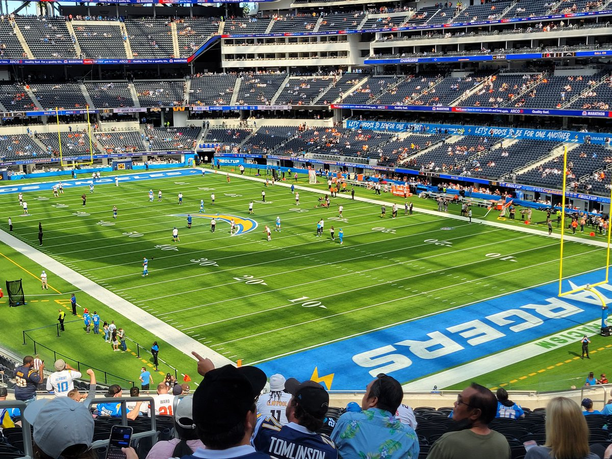 View for today's epic Chargers/ Browns game.