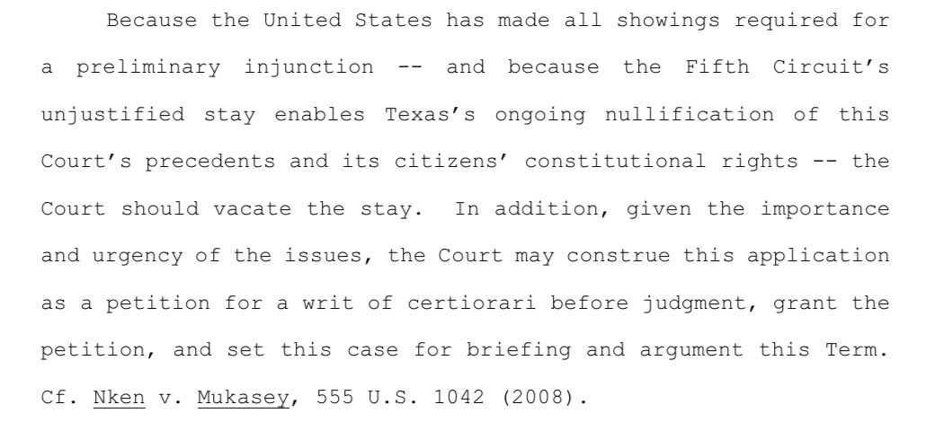 """Key: DOJ isn't just asking #SCOTUS to vacate the Fifth Circuit's stay; also suggesting Court could grant """"certiorari before judgment"""" and take the whole case now:"""