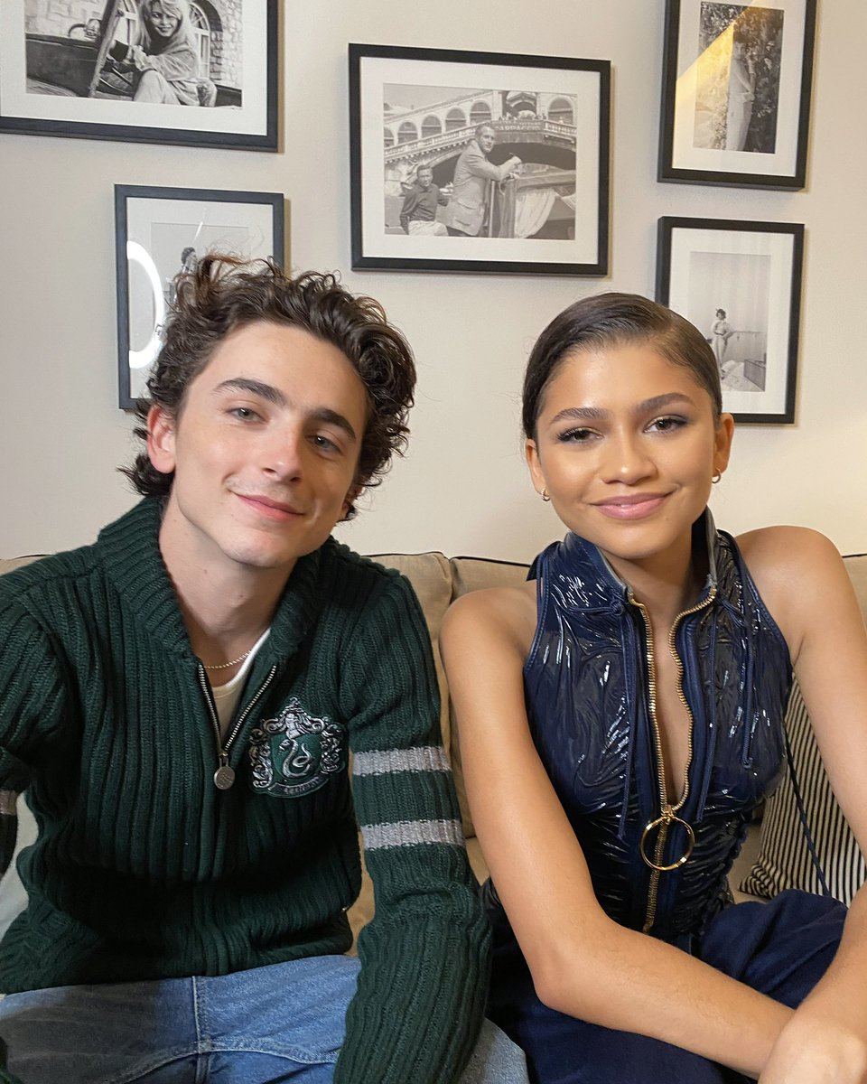 """.@RealChalamet and @Zendaya, co-stars of @dunemovie, dream of a brighter, more unified world, both in """"Dune"""" and IRL. 🌎 Today on our story they answer questions inspired by their dreams. ✨ instagram.com/p/CVLYkRcpSoC/"""